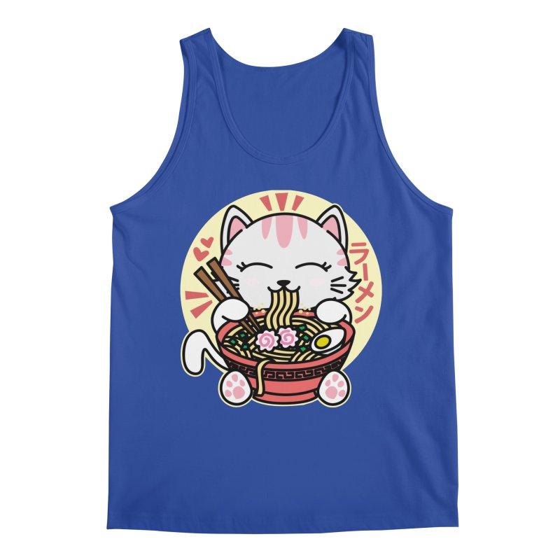 Cat Eating Ramen Men's Regular Tank by Detour Shirt's Artist Shop