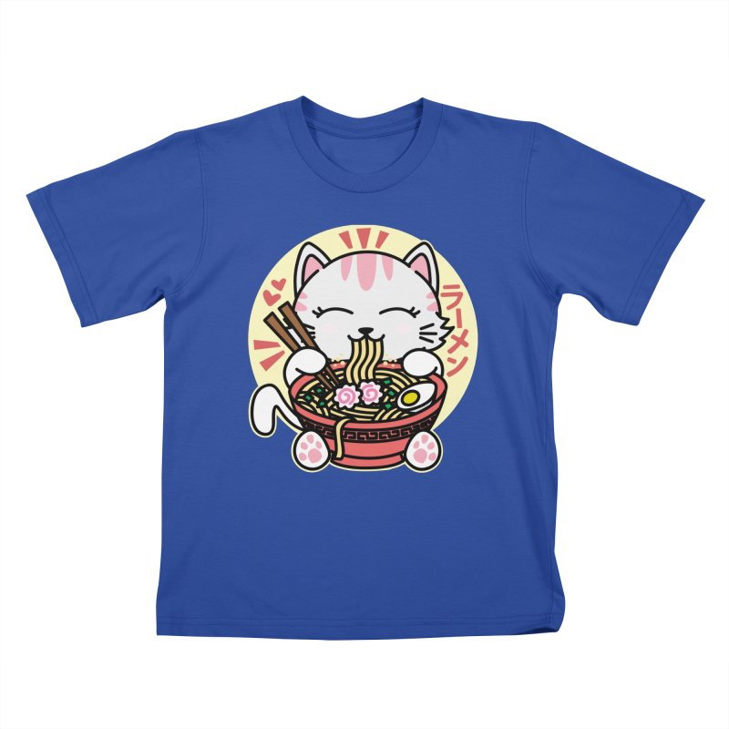 Cat Eating Ramen Kids T-Shirt by Detour Shirt's Artist Shop