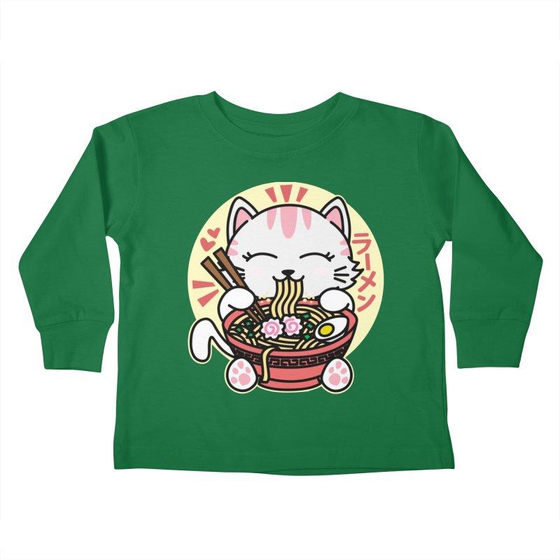 Cat Eating Ramen Kids Toddler Longsleeve T-Shirt by Detour Shirt's Artist Shop