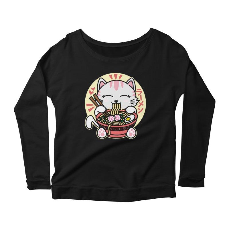 Cat Eating Ramen Women's Scoop Neck Longsleeve T-Shirt by Detour Shirt's Artist Shop