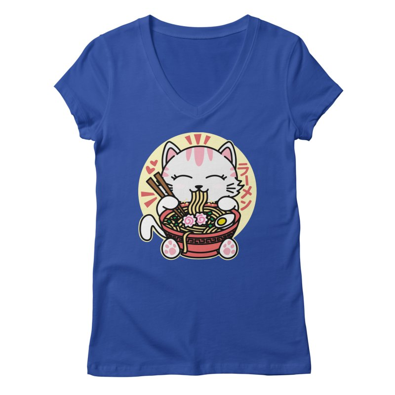 Cat Eating Ramen Women's Regular V-Neck by Detour Shirt's Artist Shop