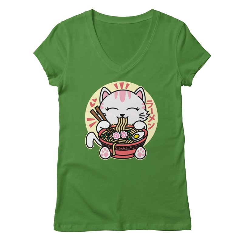 Cat Eating Ramen Women's Regular V-Neck by Detour Shirt's Artist Shop