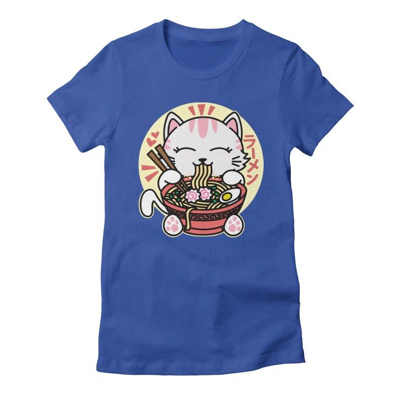 Cat Eating Ramen Women's Fitted T-Shirt by Detour Shirt's Artist Shop