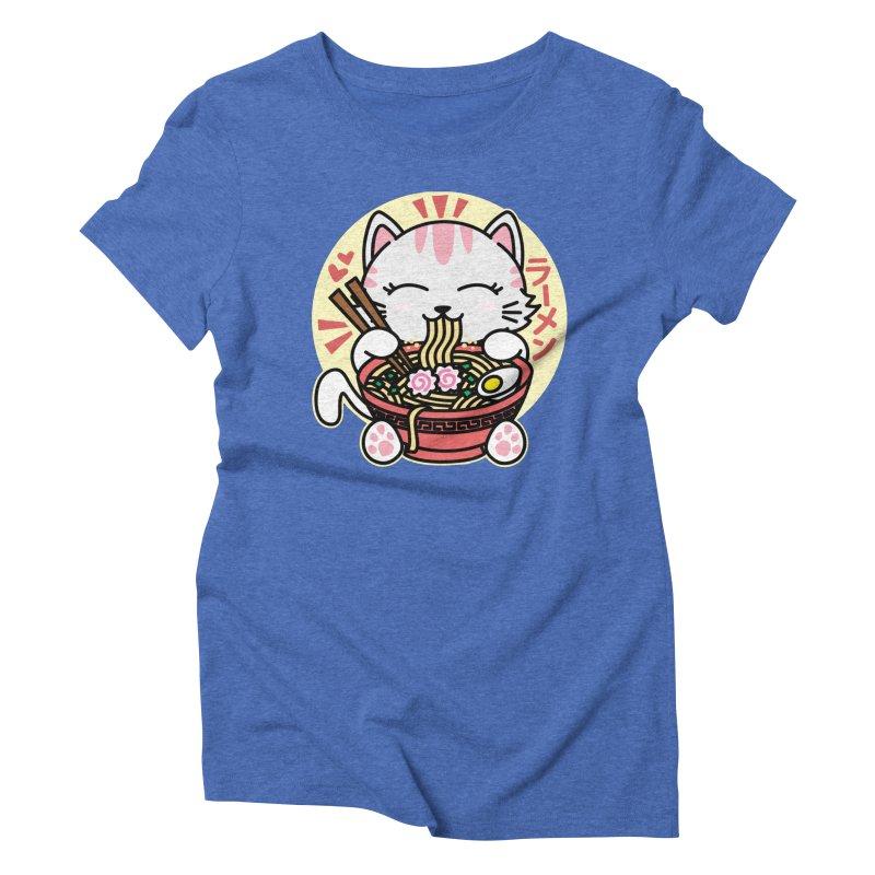 Cat Eating Ramen Women's Triblend T-Shirt by Detour Shirt's Artist Shop