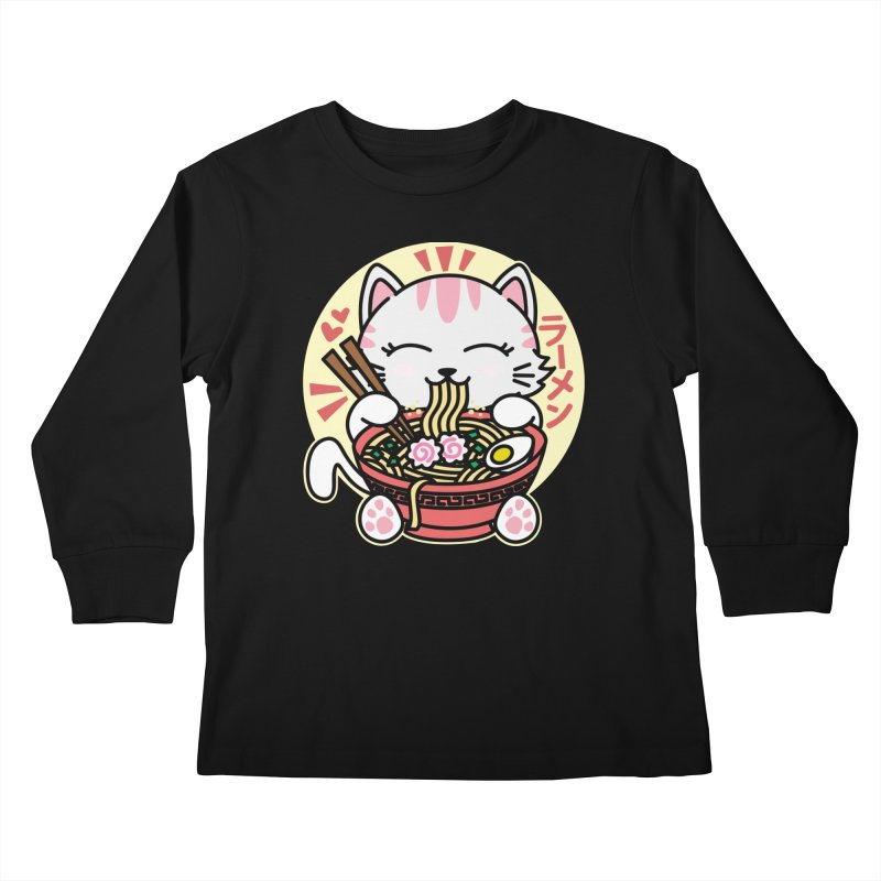 Cat Eating Ramen Kids Longsleeve T-Shirt by Detour Shirt's Artist Shop