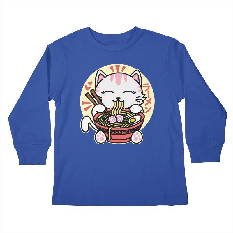 Cat Eating Ramen Kids Longsleeve T-Shirt by Detour Shirt's Artist Shop
