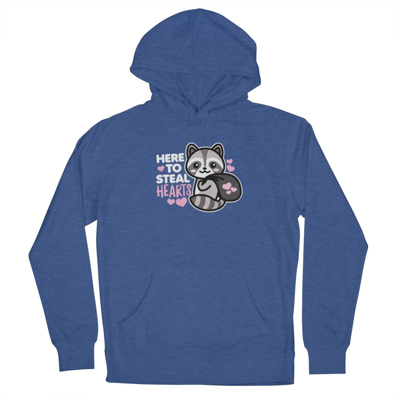 Here to Steal Hearts Cute Kawaii Racoon Men's Pullover Hoody by Detour Shirt's Artist Shop