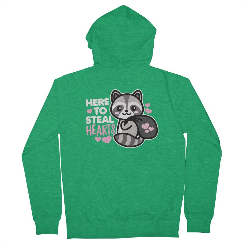 Here to Steal Hearts Cute Kawaii Racoon Men's Zip-Up Hoody by Detour Shirt's Artist Shop