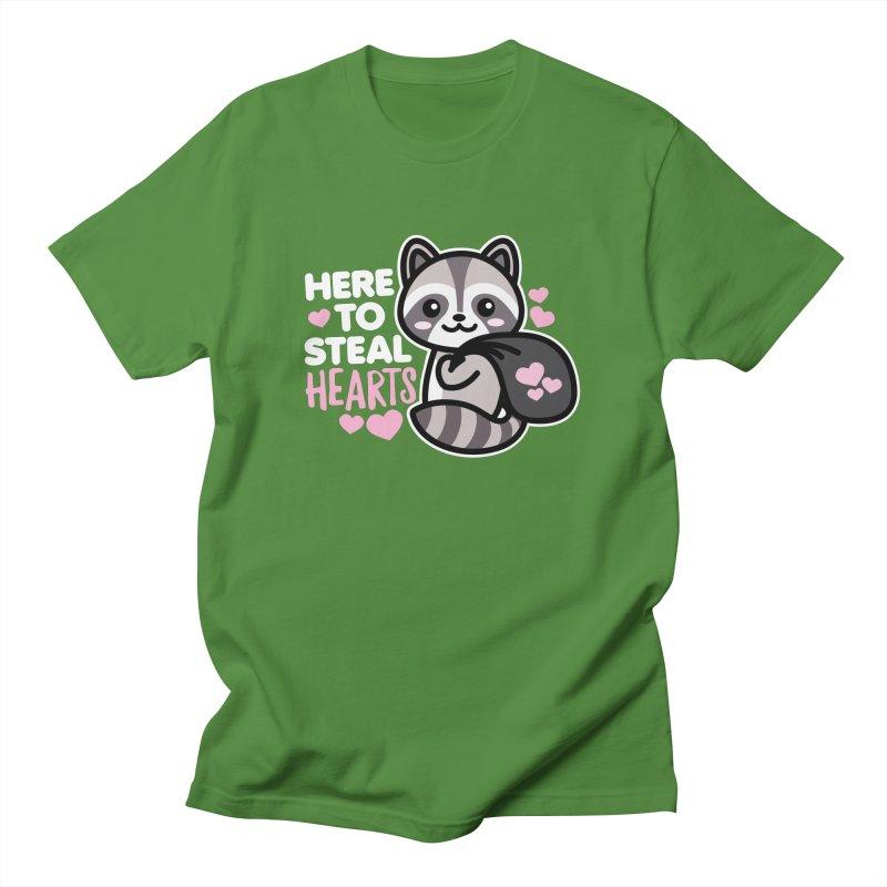 Here to Steal Hearts Cute Kawaii Racoon Men's T-Shirt by Detour Shirt's Artist Shop