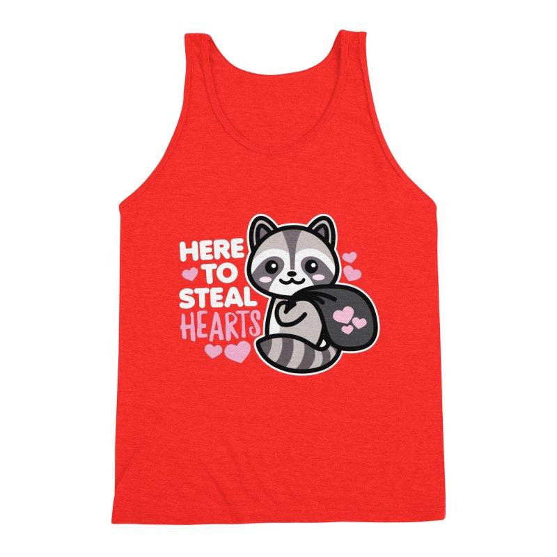 Here to Steal Hearts Cute Kawaii Racoon Men's Tank by Detour Shirt's Artist Shop