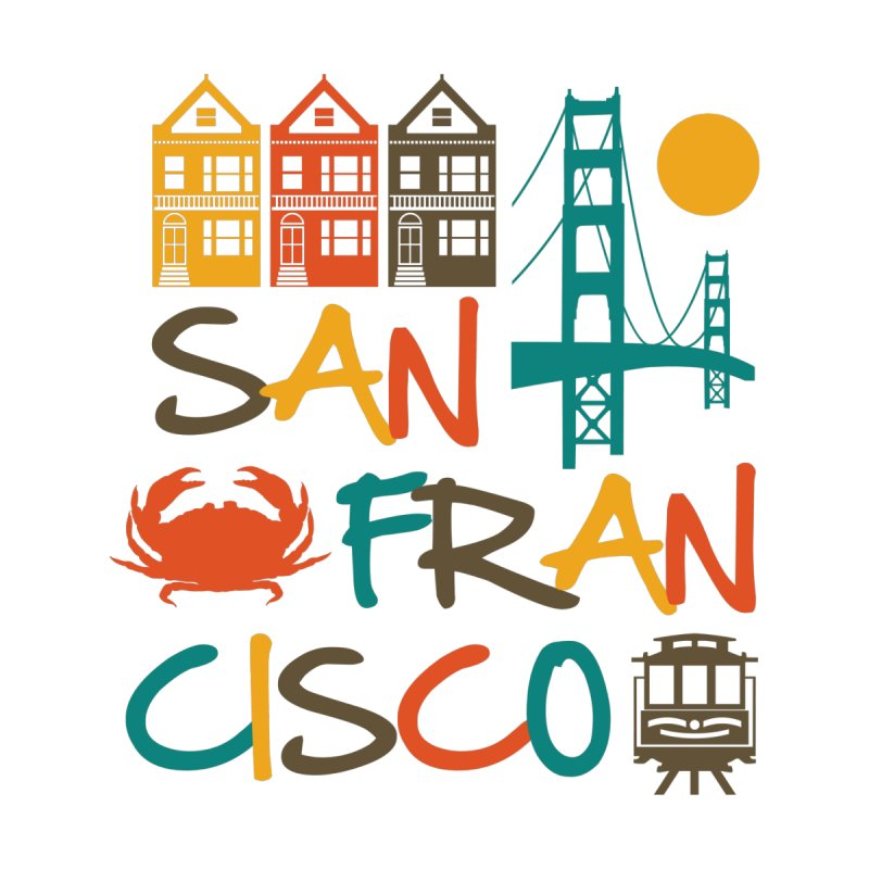 San Francisco Silhouette Icons Colorful Men's T-Shirt by Detour Shirt's Artist Shop