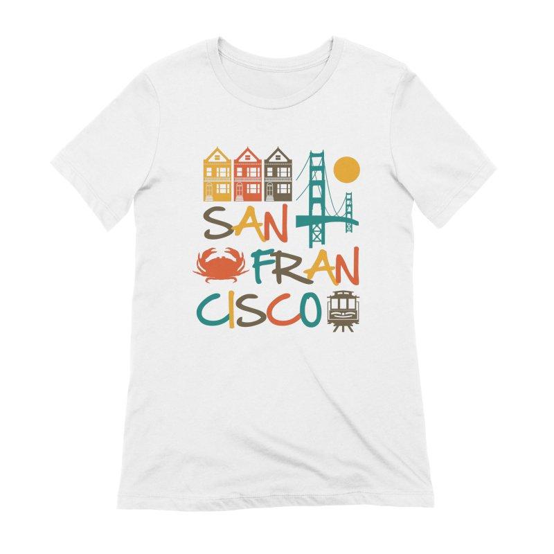 San Francisco Silhouette Icons Colorful Women's T-Shirt by Detour Shirt's Artist Shop