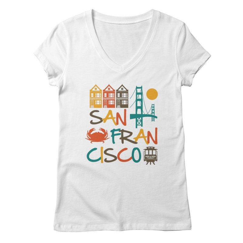 San Francisco Silhouette Icons Colorful Women's V-Neck by Detour Shirt's Artist Shop