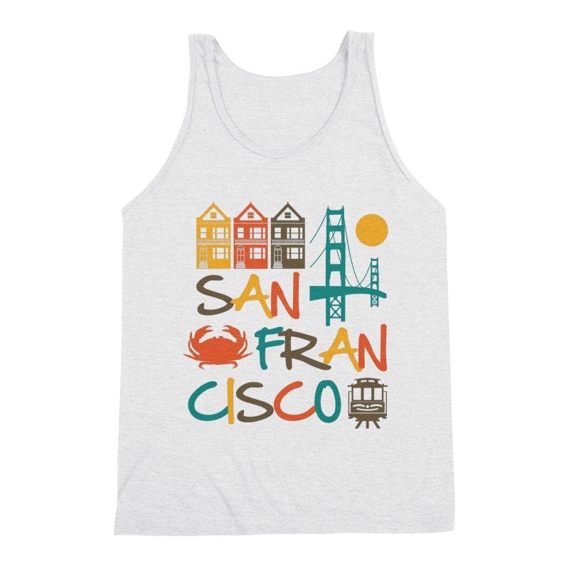 San Francisco Silhouette Icons Colorful Men's Tank by Detour Shirt's Artist Shop