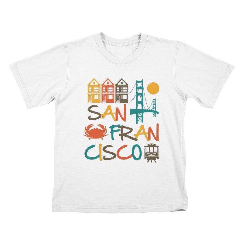 San Francisco Silhouette Icons Colorful Kids T-Shirt by Detour Shirt's Artist Shop