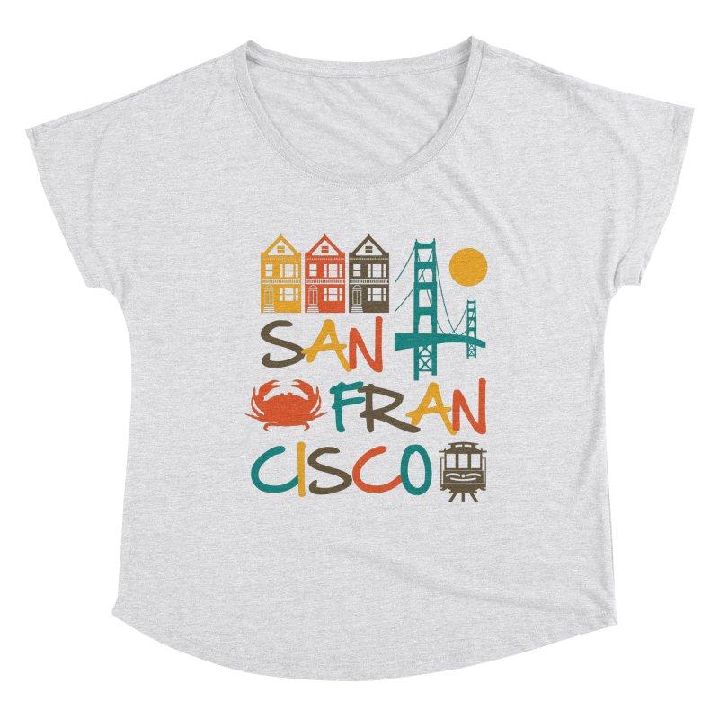 San Francisco Silhouette Icons Colorful Women's Scoop Neck by Detour Shirt's Artist Shop
