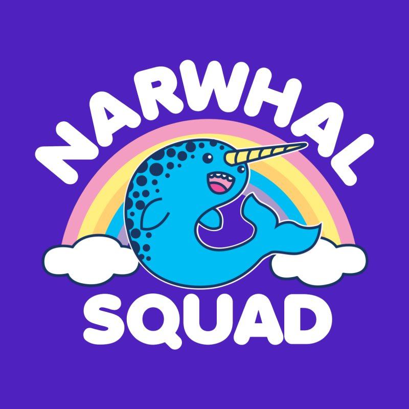 Narwhal Squad Cute Kawaii Unicorn Rainbow Men's Longsleeve T-Shirt by Detour Shirt's Artist Shop