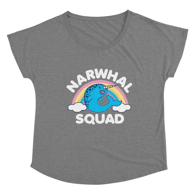 Narwhal Squad Cute Kawaii Unicorn Rainbow Women's Scoop Neck by Detour Shirt's Artist Shop