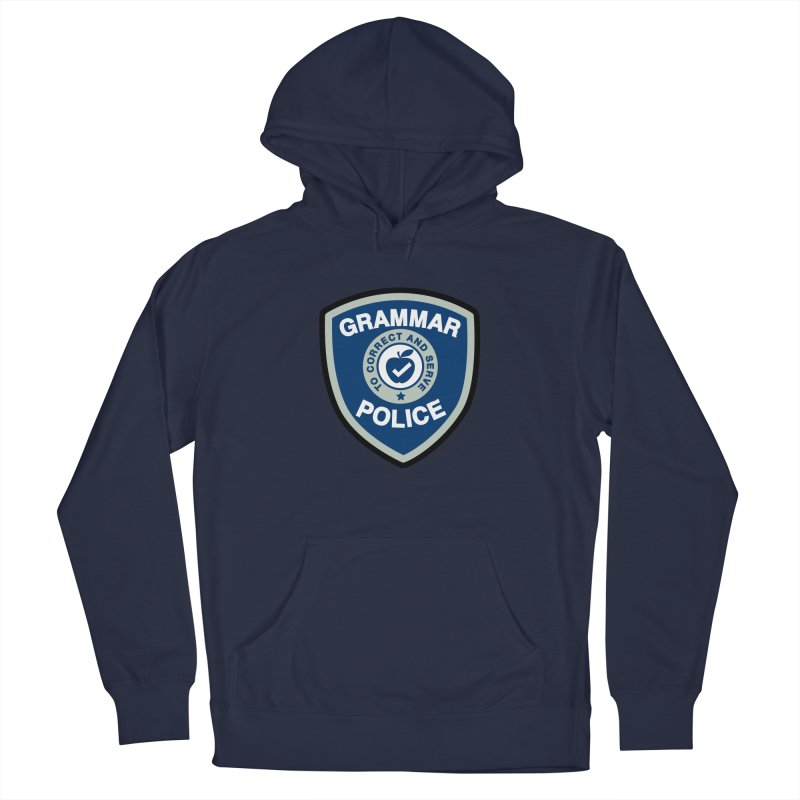 Grammar Police Badge Funny Saying Men's Pullover Hoody by Detour Shirt's Artist Shop