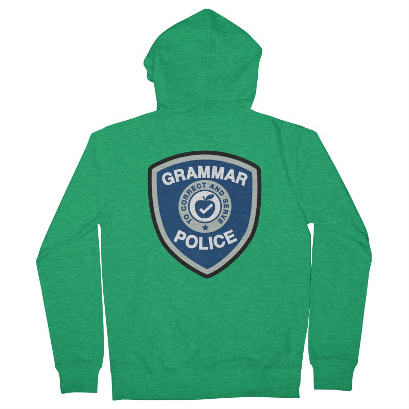 Grammar Police Badge Funny Saying Women's Zip-Up Hoody by Detour Shirt's Artist Shop