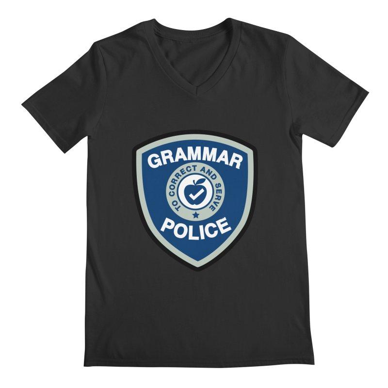 Grammar Police Badge Funny Saying Men's V-Neck by Detour Shirt's Artist Shop