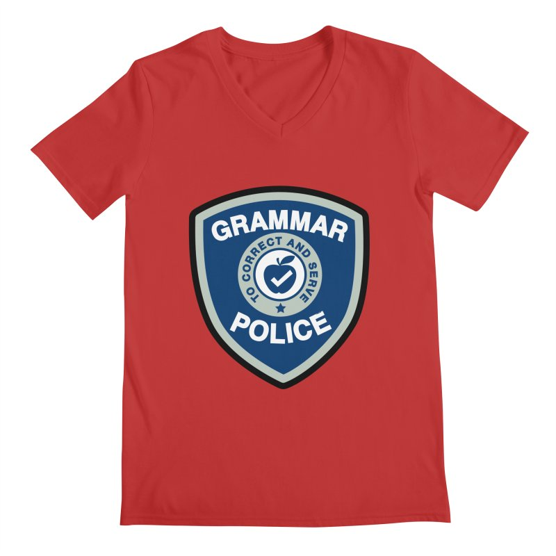 Grammar Police Badge Funny Saying Men's V-Neck by Detour Shirt's Artist Shop