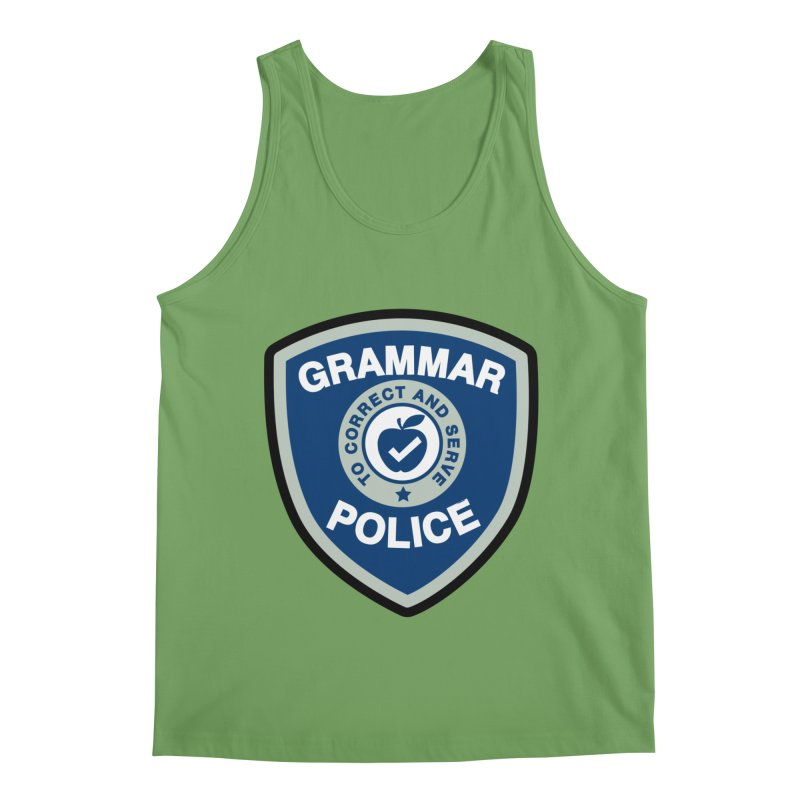 Grammar Police Badge Funny Saying Men's Tank by Detour Shirt's Artist Shop
