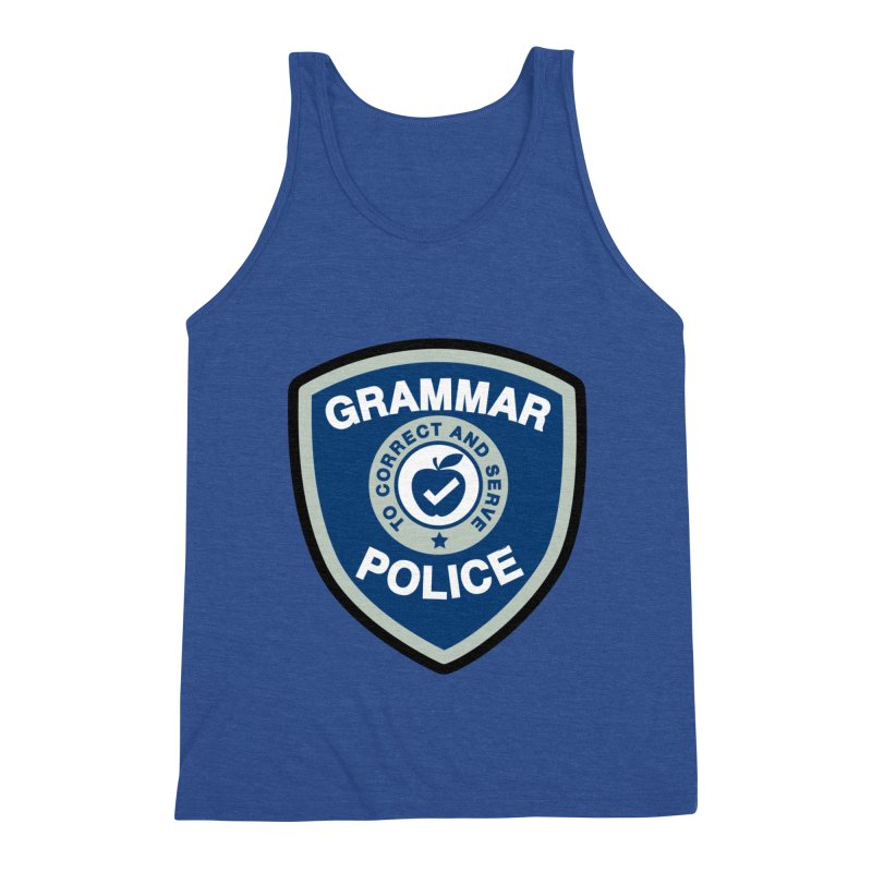 Grammar Police Badge Funny Saying Men's Tank by Detour Shirt's Artist Shop