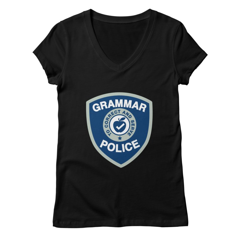 Grammar Police Badge Funny Saying Women's V-Neck by Detour Shirt's Artist Shop