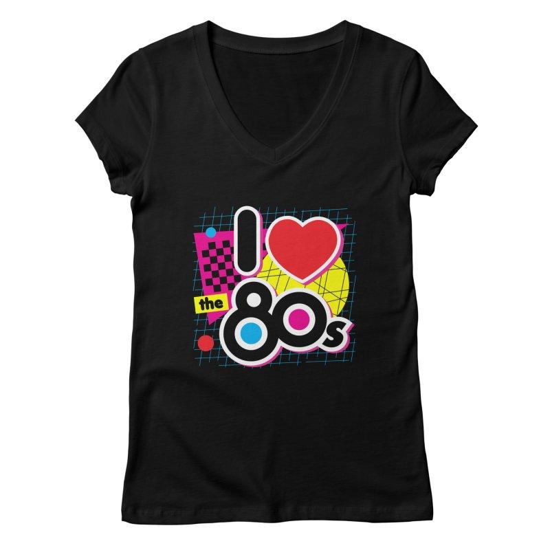 I Love The 80s Women's V-Neck by Detour Shirt's Artist Shop