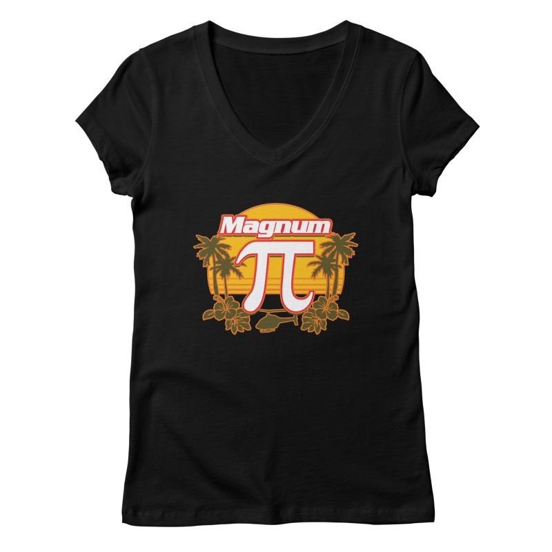 Magnum Pi Hawaiian Pi Day Design Women's V-Neck by Detour Shirt's Artist Shop