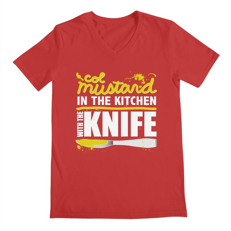 Colonel Mustard in the Kitchen with the Knife Men's V-Neck by Detour Shirt's Artist Shop