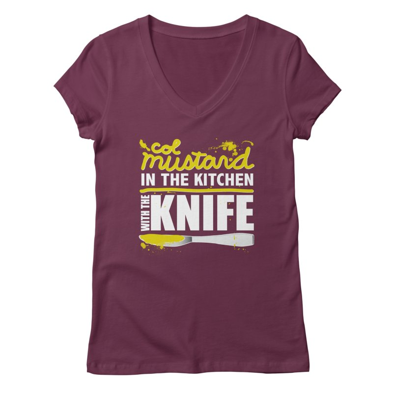 Colonel Mustard in the Kitchen with the Knife Women's V-Neck by Detour Shirt's Artist Shop