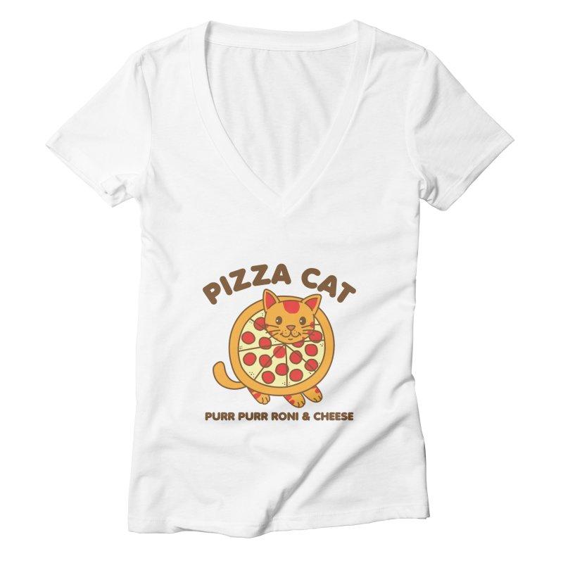 Pizza Cat Funny Mashup Food Animal Women's V-Neck by Detour Shirt's Artist Shop