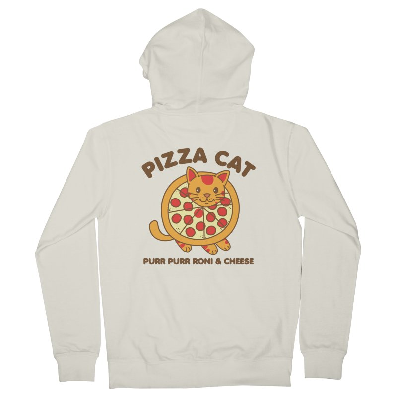 Pizza Cat Funny Mashup Food Animal Men's Zip-Up Hoody by Detour Shirt's Artist Shop