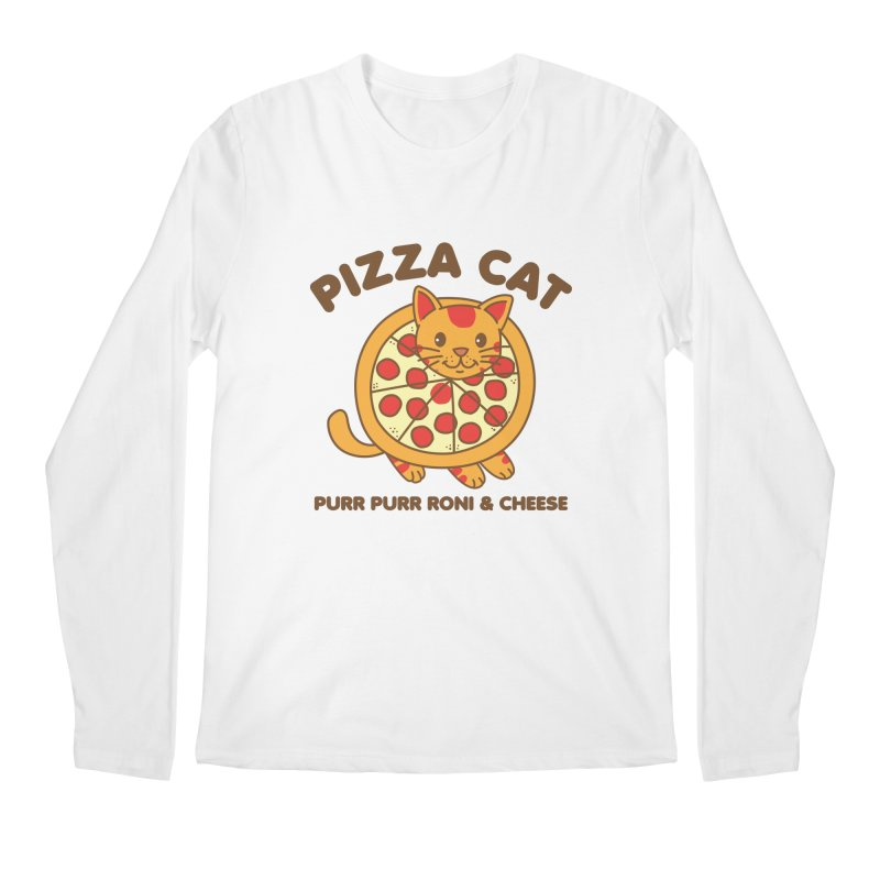 Pizza Cat Funny Mashup Food Animal Men's Longsleeve T-Shirt by Detour Shirt's Artist Shop