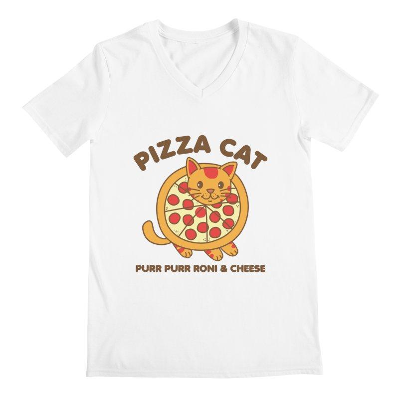 Pizza Cat Funny Mashup Food Animal Men's V-Neck by Detour Shirt's Artist Shop