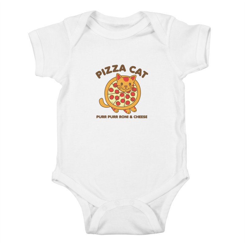Pizza Cat Funny Mashup Food Animal Kids Baby Bodysuit by Detour Shirt's Artist Shop