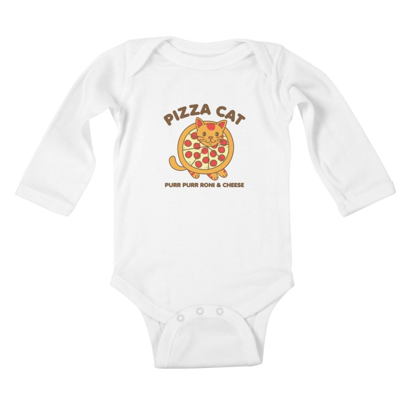 Pizza Cat Funny Mashup Food Animal Kids Baby Longsleeve Bodysuit by Detour Shirt's Artist Shop