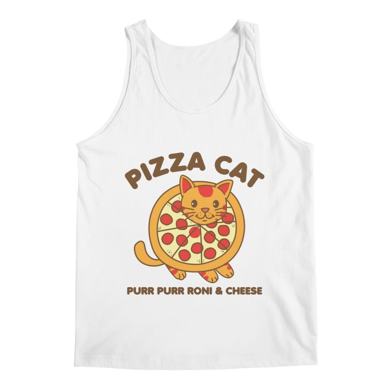 Pizza Cat Funny Mashup Food Animal Men's Tank by Detour Shirt's Artist Shop
