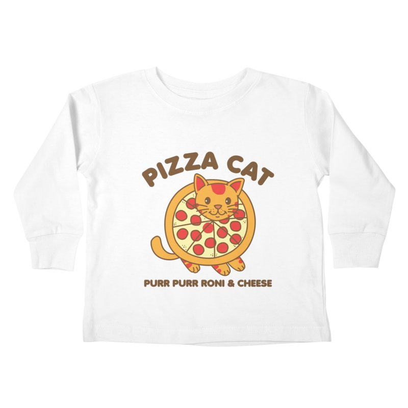 Pizza Cat Funny Mashup Food Animal Kids Toddler Longsleeve T-Shirt by Detour Shirt's Artist Shop
