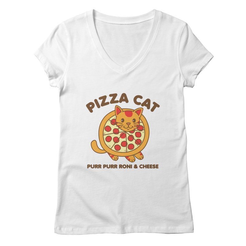 Pizza Cat Funny Mashup Food Animal Women's V-Neck by Detour Shirt's Artist Shop