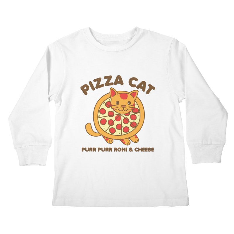 Pizza Cat Funny Mashup Food Animal Kids Longsleeve T-Shirt by Detour Shirt's Artist Shop