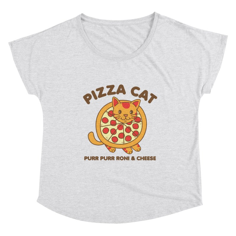 Pizza Cat Funny Mashup Food Animal Women's Scoop Neck by Detour Shirt's Artist Shop