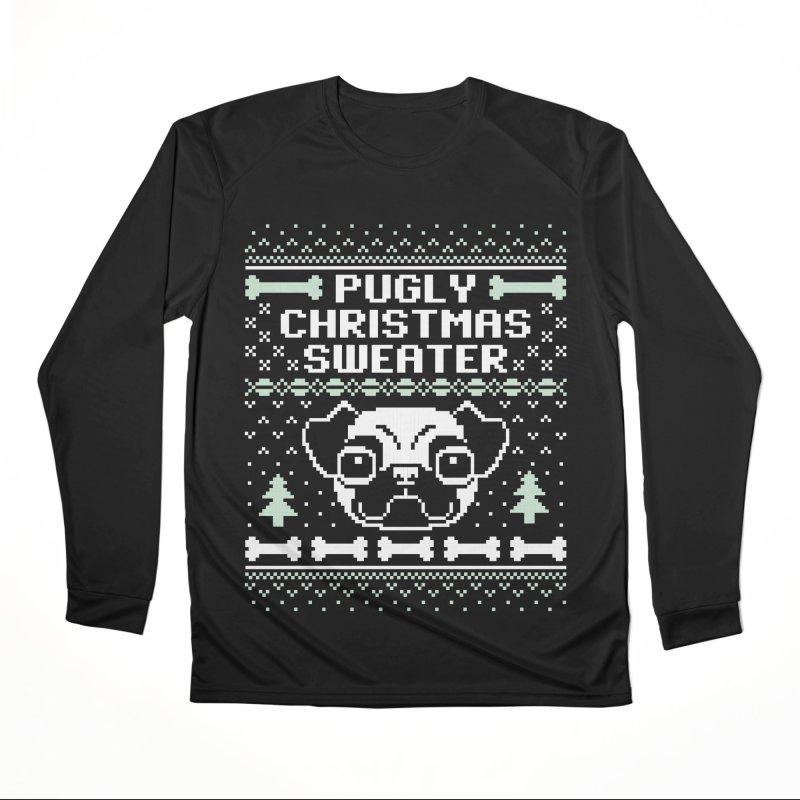 Pugly Christmas Sweater Pug Lovers Design Women's Longsleeve T-Shirt by Detour Shirt's Artist Shop