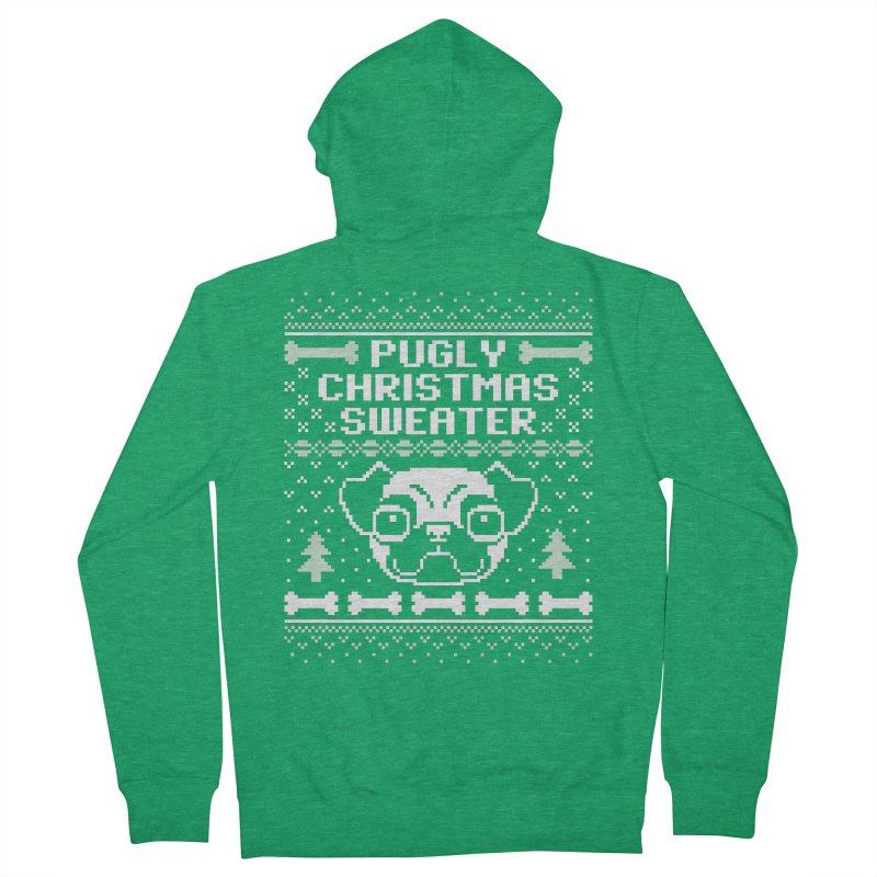 Pugly Christmas Sweater Pug Lovers Design Women's Zip-Up Hoody by Detour Shirt's Artist Shop