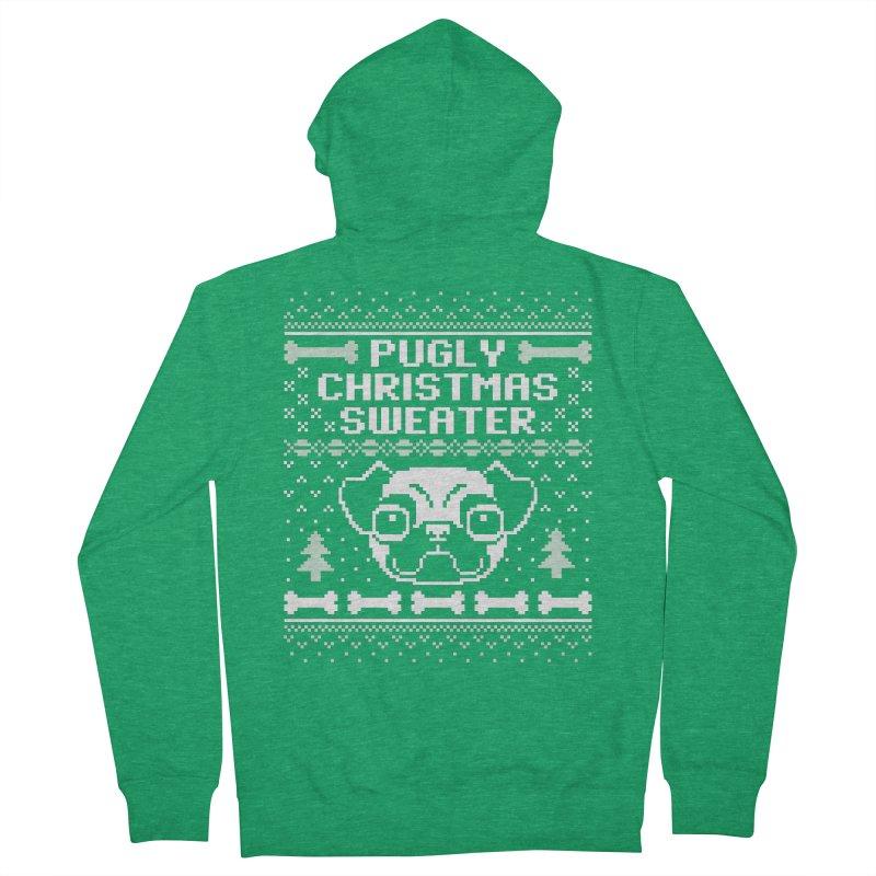 Pugly Christmas Sweater Pug Lovers Design Men's Zip-Up Hoody by Detour Shirt's Artist Shop