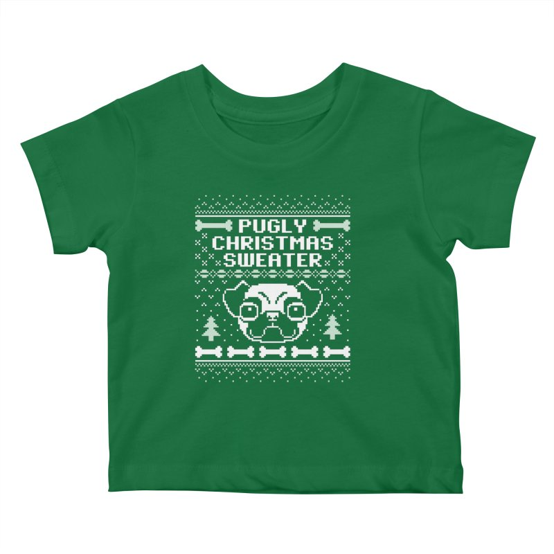 Pugly Christmas Sweater Pug Lovers Design Kids Baby T-Shirt by Detour Shirt's Artist Shop