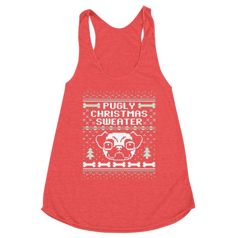 Pugly Christmas Sweater Pug Lovers Design Women's Tank by Detour Shirt's Artist Shop