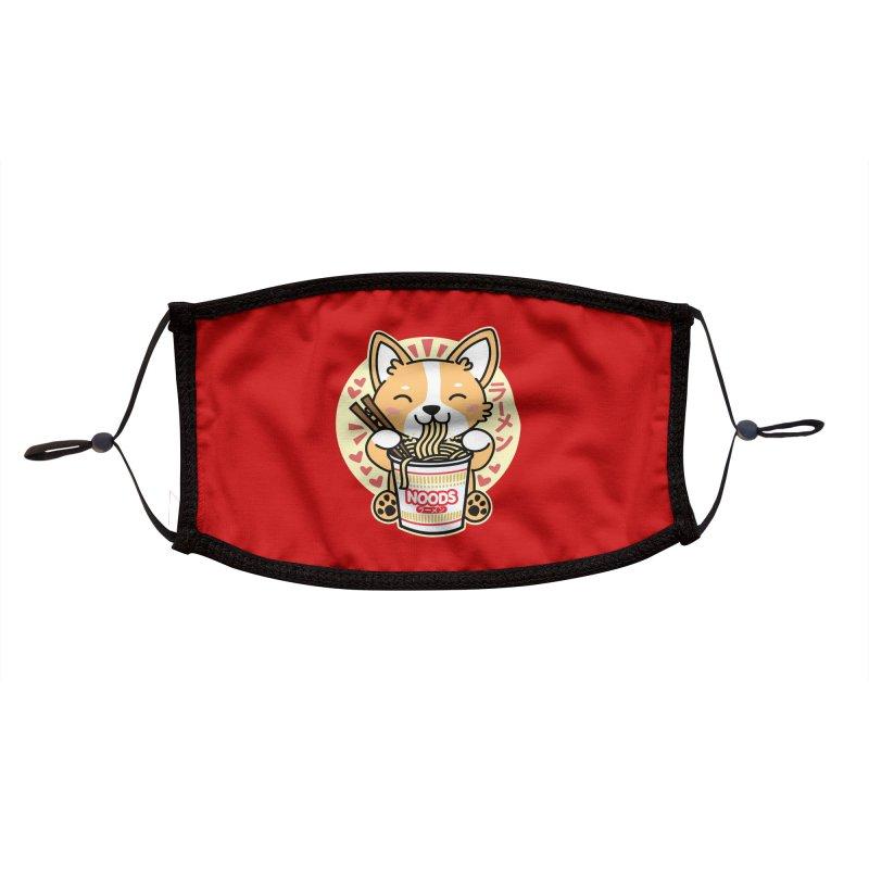 Corgi Eating Instant Noodles Accessories Face Mask by Detour Shirt's Artist Shop